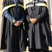 GRADUATION: Mikael Mendes and Kgabe Molepo pose at their BA Psychology Honours graduation. Photo: Ilanit Chernick